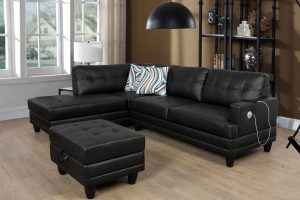 Sectional with Ottoman, Left & Right Hand Facing Black leather Massage Cushion left