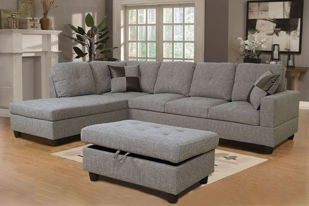 Chic 112'' Sectional Sofa with Storage Ottoman, Left Hand & Right Hand Facing by Ainehome1
