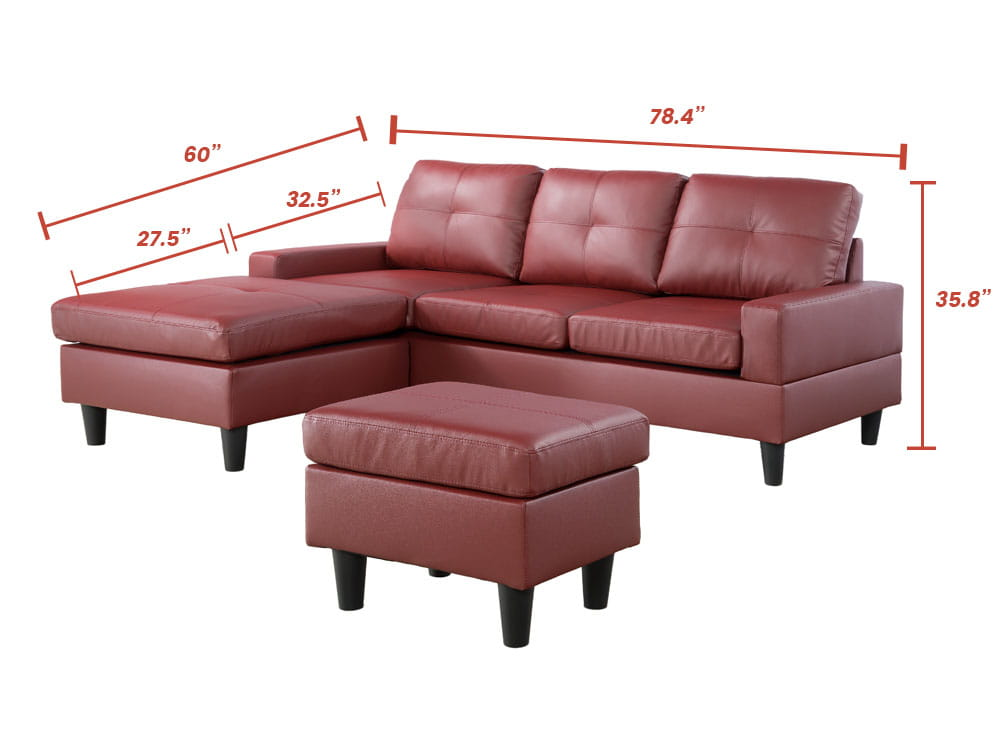 red leather sectional sofa sale