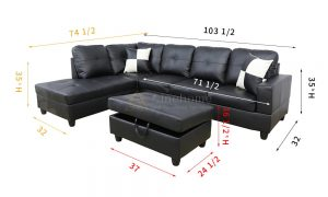 Gaitani 103.5'' Left or Right Facing Sectional with Storage Ottoman, Living Room Sectional Couches Set, Black Leather Sectional Sofa by Ainehome7