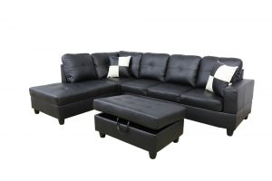 Gaitani 103.5'' Left or Right Facing Sectional with Storage Ottoman, Living Room Sectional Couches Set, Black Leather Sectional Sofa by Ainehome6