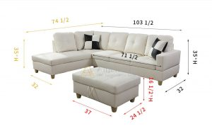 Cream 103.5'' Left or Right Facing Sleeper Sectional withStorage Ottoman, Living Room Sectional Couches Set, White Leather by Ainehome6