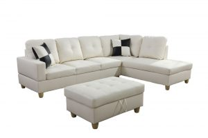 Cream 103.5'' Left or Right Facing Sleeper Sectional withStorage Ottoman, Living Room Sectional Couches Set, White Leather by Ainehome4