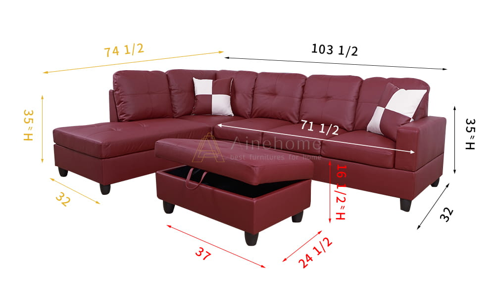 Frame 103.5'' Left or Right Facing Sleeper Sectional with Storage Ottoman, Living Room Sectional Couches Set, Red Leather Sectional Sofa8