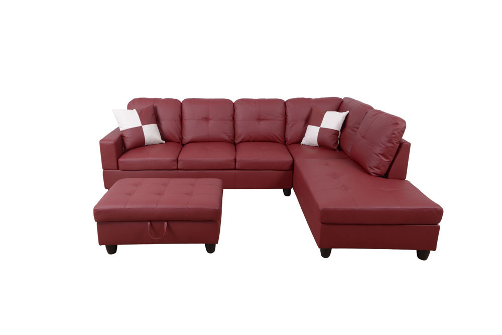 Frame 103.5'' Left or Right Facing Sleeper Sectional with Storage Ottoman, Living Room Sectional Couches Set, Red Leather Sectional Sofa7