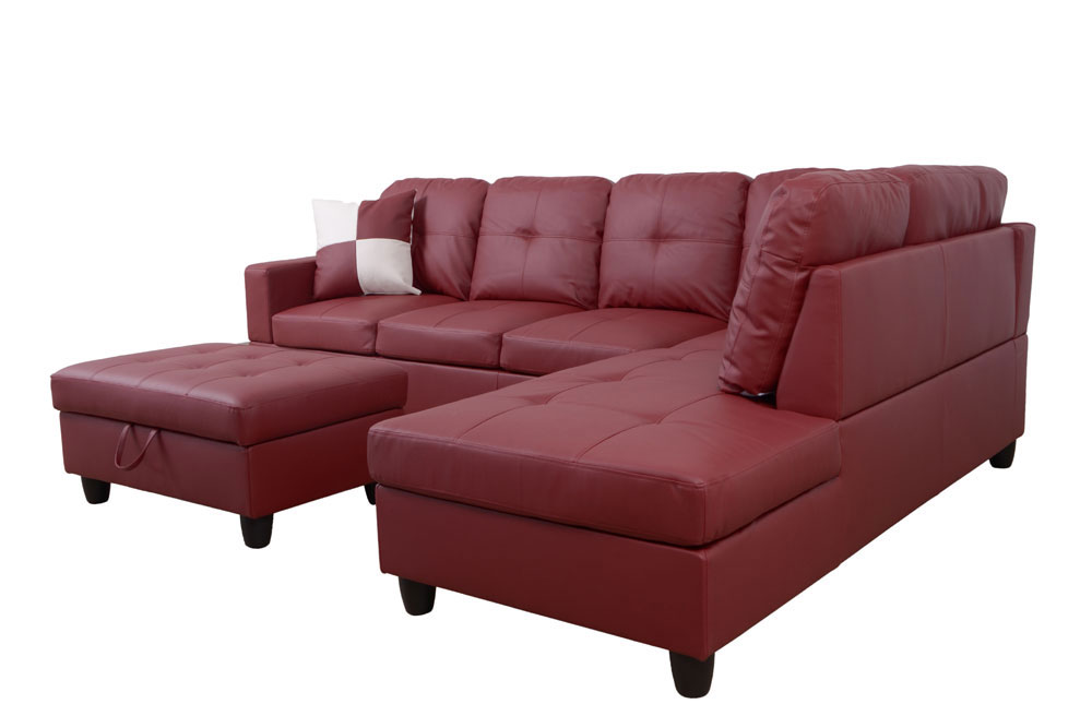 Frame 103.5'' Left or Right Facing Sleeper Sectional with Storage Ottoman, Living Room Sectional Couches Set, Red Leather Sectional Sofa6