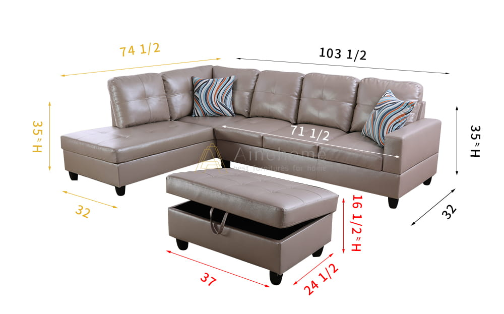 Marlotta 103.5'' Sleeper Sectional with Storage Ottoman, Left & Right Hand Facing, Leather Upholstered by Ainehome8