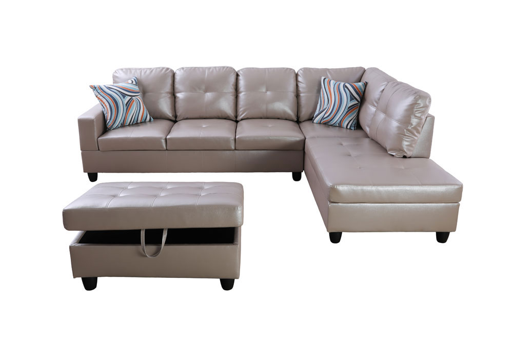 Marlotta 103.5'' Sleeper Sectional with Storage Ottoman, Left & Right Hand Facing, Leather Upholstered by Ainehome6