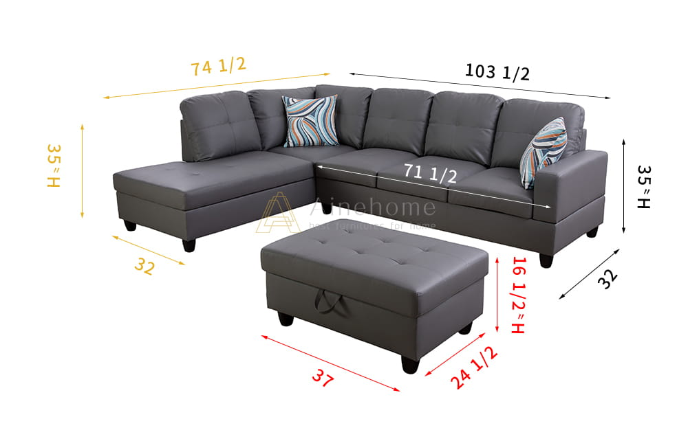 Myrie 103.5'' Sleeper Sectional with Storage Ottoman, Right & Left Hand Facing, Leather Upholstered by Ainehome4