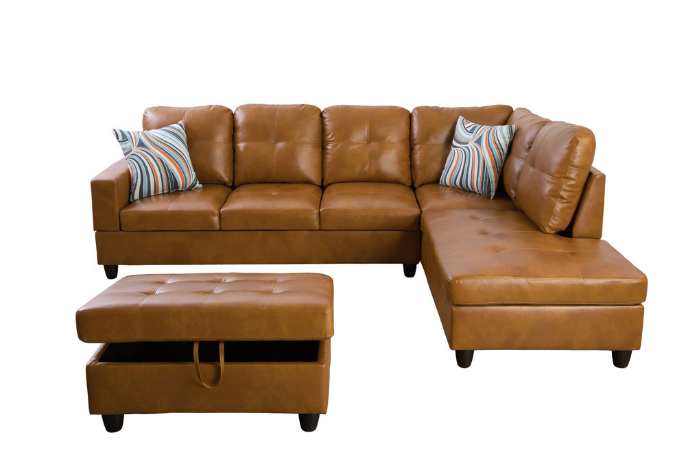 Caramel 103.5'' Sectional Sofa with Storage Ottoman, Right & Left Hand Facing, Leather Upholstered by Ainehome7