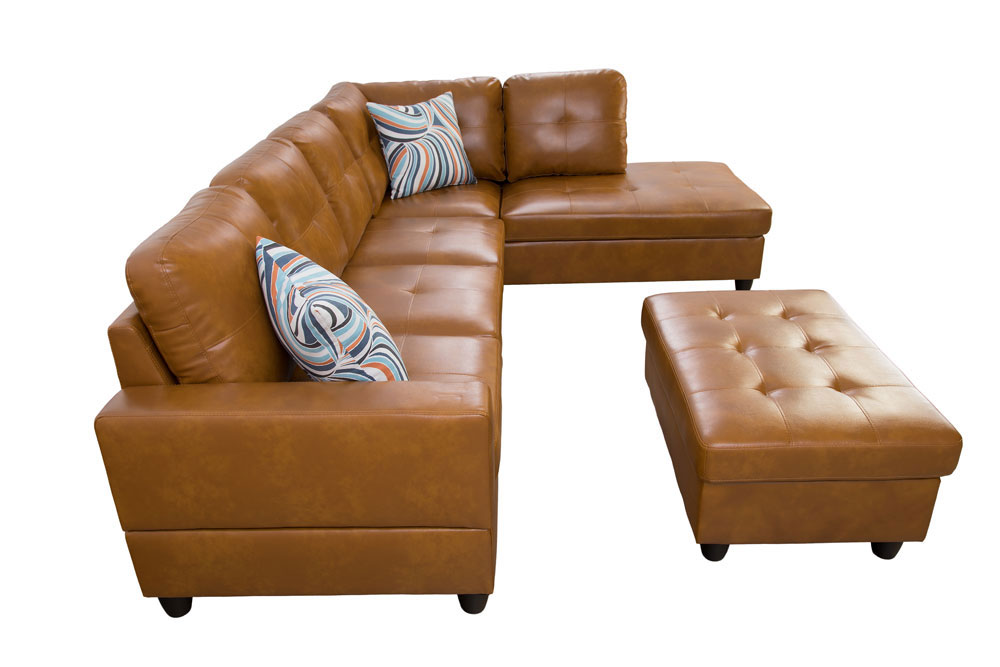 Caramel 103.5'' Sectional Sofa with Storage Ottoman, Right & Left Hand Facing, Leather Upholstered by Ainehome8