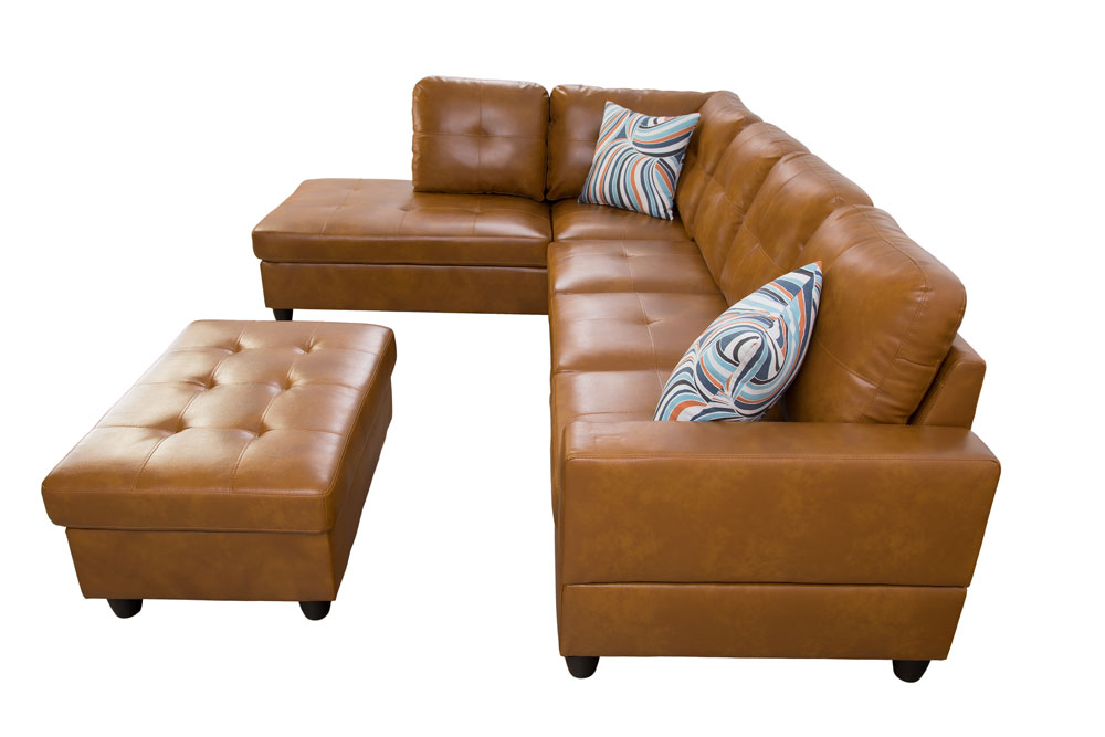 Caramel 103.5'' Sectional Sofa with Storage Ottoman, Right & Left Hand Facing, Leather Upholstered by Ainehome1