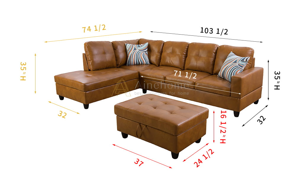 Caramel 103.5'' Sectional Sofa with Storage Ottoman, Right & Left Hand Facing, Leather Upholstered by Ainehome6