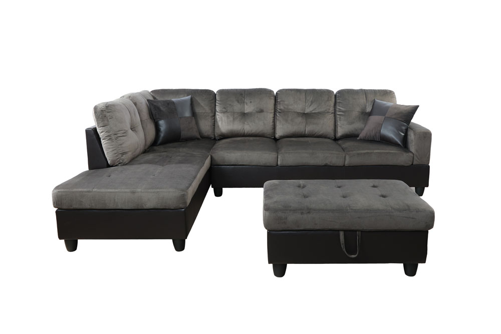 Features Product Type Corner Sectional Design Stationary Pieces Included 1 Sofa, 1 chaise, 1 ottoman and 2 pillows Number of Pieces 3 Seating Capacity 5 Upholstery Material Polyester & Faux Leather Upholstery Material Details Polyester & Faux Leather Seat Fill Material Foam Seat Fill Material Details Foam Seat Construction Pocket Spring Back Fill Material Foam Frame Material Solid Wood Leg Material Resin Back Type Cushion back Toss Pillows Included Yes Number of Toss Pillows 2 Product Care Spot clean with mild sopa and water, as needed Weight Capacity 1000 Pounds Supplier Intended and Approved Use Residential Use Country of Origin China Assembly Assembly Required Yes Level of Assembly Full Assembly Needed7