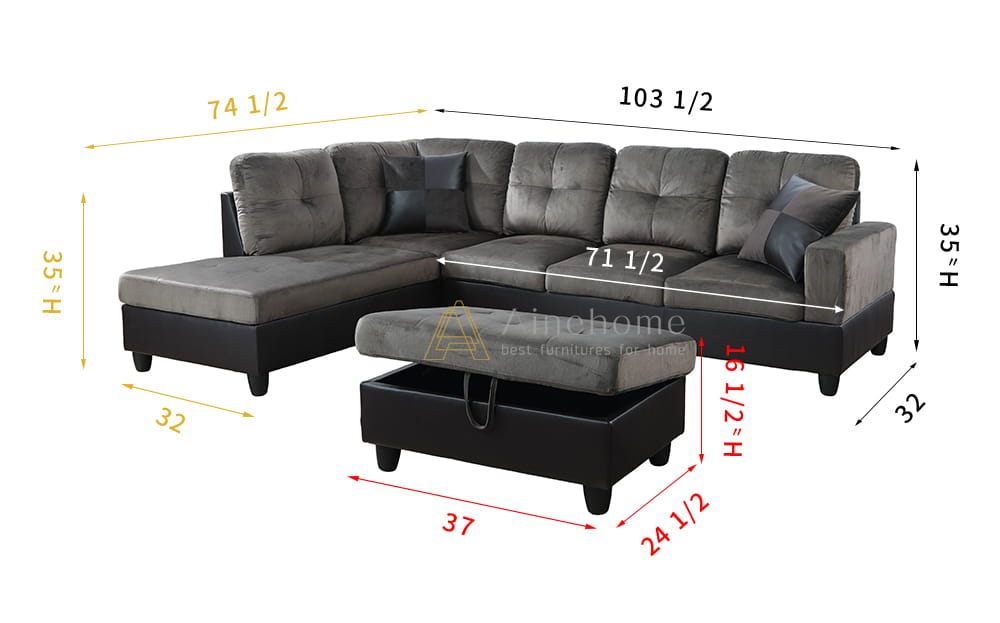 Features Product Type Corner Sectional Design Stationary Pieces Included 1 Sofa, 1 chaise, 1 ottoman and 2 pillows Number of Pieces 3 Seating Capacity 5 Upholstery Material Polyester & Faux Leather Upholstery Material Details Polyester & Faux Leather Seat Fill Material Foam Seat Fill Material Details Foam Seat Construction Pocket Spring Back Fill Material Foam Frame Material Solid Wood Leg Material Resin Back Type Cushion back Toss Pillows Included Yes Number of Toss Pillows 2 Product Care Spot clean with mild sopa and water, as needed Weight Capacity 1000 Pounds Supplier Intended and Approved Use Residential Use Country of Origin China Assembly Assembly Required Yes Level of Assembly Full Assembly Needed8