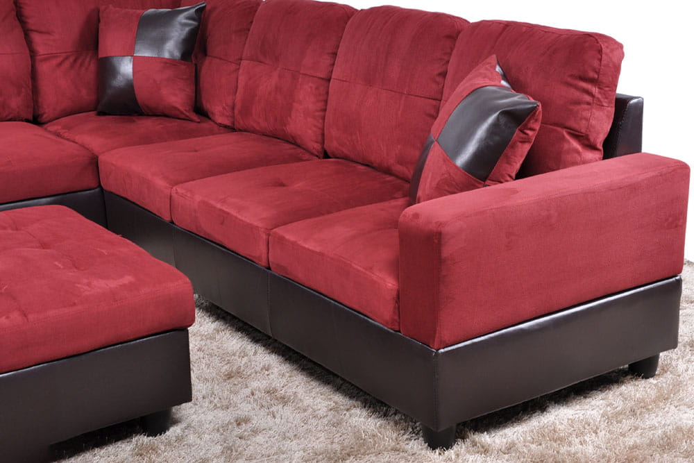 Shelton 103.5'' Ainehome Right & Left Hand Facing Sectional Sofa with Ottoman, Microfiber & Leather Upholstered by Ainehome5