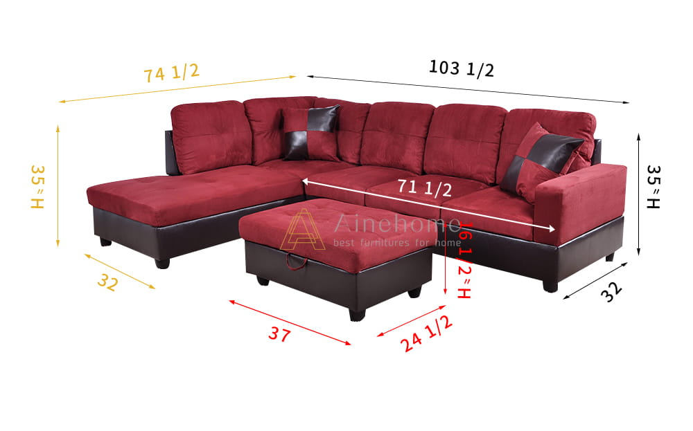 Shelton 103.5'' Ainehome Right & Left Hand Facing Sectional Sofa with Ottoman, Microfiber & Leather Upholstered by Ainehome7