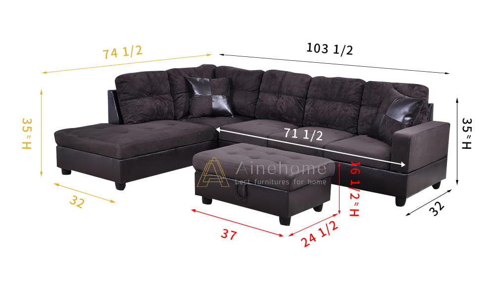 Ezekiel 103.5'' Right & Left Hand Facing Sectional Sofa with Storage Ottoman, Microfiber & Leather Upholstered by Ainehome7