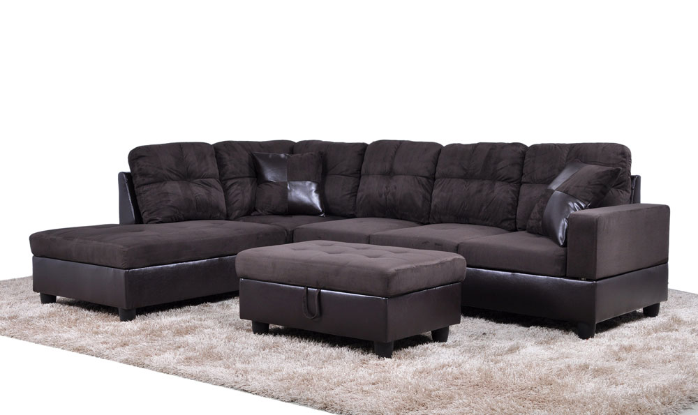 """Modern L-shaped sectional sofa set, comes with a sofa, a chaise, an ottoman and two free pillows. Tufted seat and back, accent on arm and ottoman. Fashionable with bonded leather and high quality fabric upholstery. The extra storage in the ottoman makes it easy to organize your book, remote and magazines, and the two accent pillows allow you to release stress. Sectional sofa overall dimension is approximately: 103.5"""" x 74.5"""" x 35"""" high. Toss pillow: 18"""" x 18"""" Sturdy wood frame. Simple assembly required. Just assembly according to the instructions. It comes with 3 boxs, easy to get through 32"""" door. We only offer Curbside Only Shipping Trucking service. Our carrier will contact you prior to help you set up a delivery time. ♥Make Ainehome the favoured choice. Color: Espresso#1 Bold and beautiful describe this 3-piece Sectional with Ottoman that features plush and spacious seating. It also features perfect solid color on both the sectional and matching ottoman. Make a statement in your home living space. Ottoman can make for extra storage. What's Included? Toss Pillow (s) Sofa Chaise Ottoman Features 3-Pieces sectional sofa set with storage ottoman, 2 square pillows Seat cushion filled with foam and innerspring for durability and comfort Its come with design Tufted with L shape Assemble in no time Product Details Storage Included: Yes Number of Pieces: 3 Seat Fill Material: Foam Upholstery Material: Bonded leather & high quality fabric Assembly Required: Yes"""