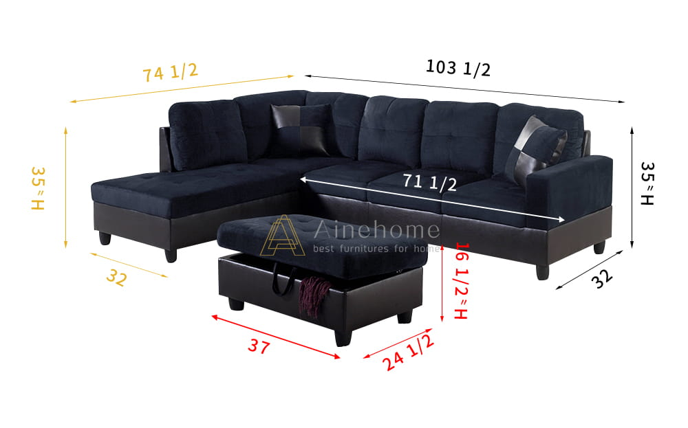 Darkening 103.5'' Sectional Sofa with Storage Ottoman, Right Hand & Left Hand Facing by Ainehome6