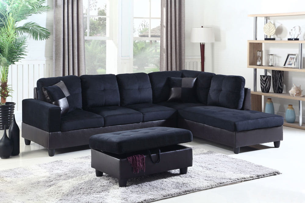 Darkening 103.5'' Sectional Sofa with Storage Ottoman, Right Hand & Left Hand Facing by Ainehome5