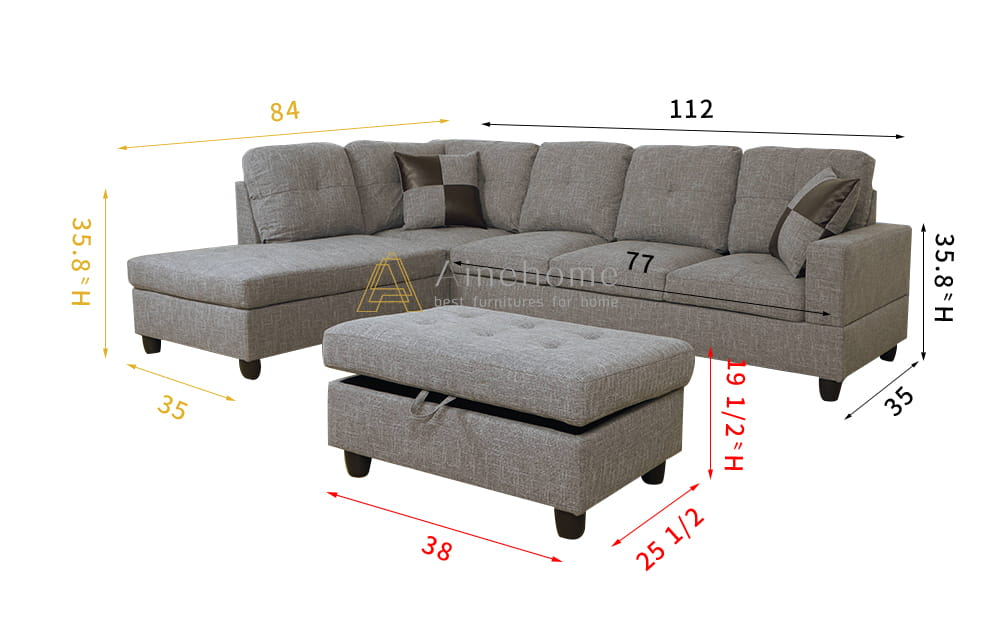 Chic 112'' Sectional Sofa with Storage Ottoman, Left Hand & Right Hand Facing by Ainehome3
