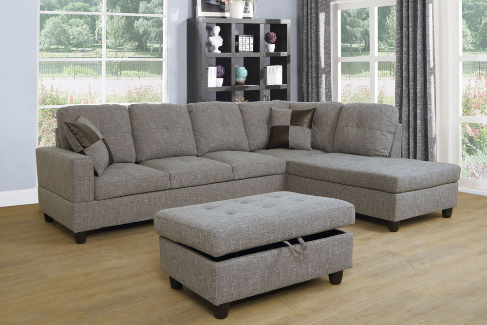 Chic 112'' Sectional Sofa with Storage Ottoman, Left Hand & Right Hand Facing by Ainehome2