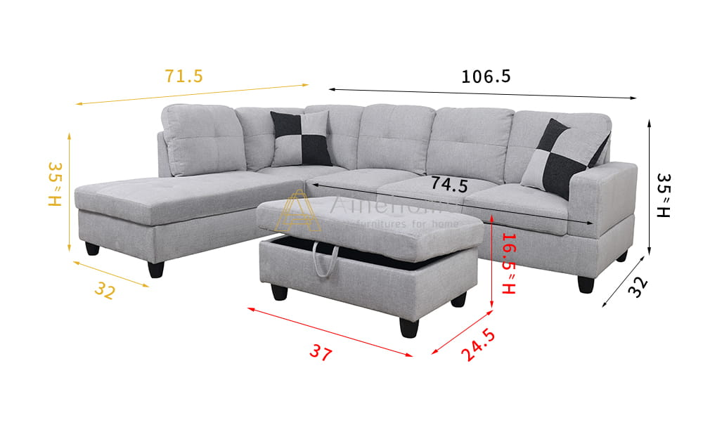 Breeze 106.5'' Sectional Sofa with Storage Ottoman, Left Hand & Right Hand Facing by Ainehome6