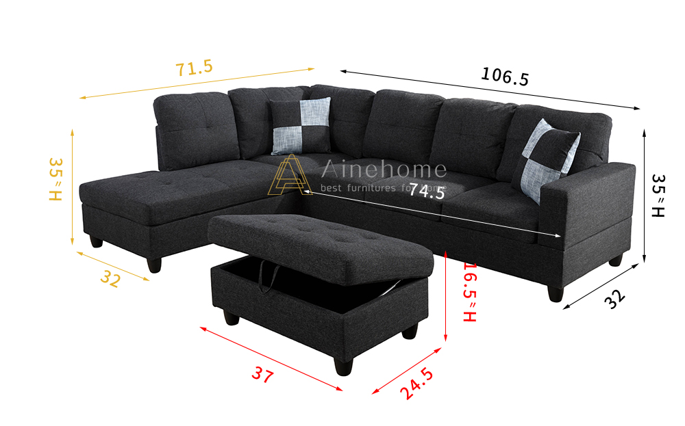 Huguley 103.5'' Sleeper Sectional with Storage Ottoman, Left Hand & Right Hand Facing, Storage Ottoman7