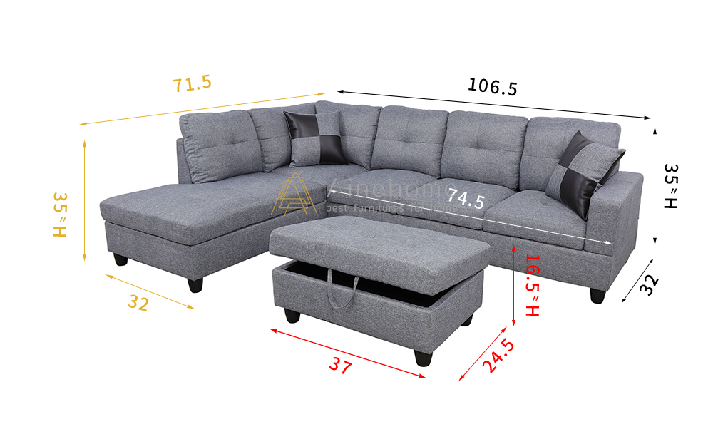 Wonderland 106.5'' Sectional Sofa with Storage Ottoman, Left Hand & Right Hand Facing by Ainehome4