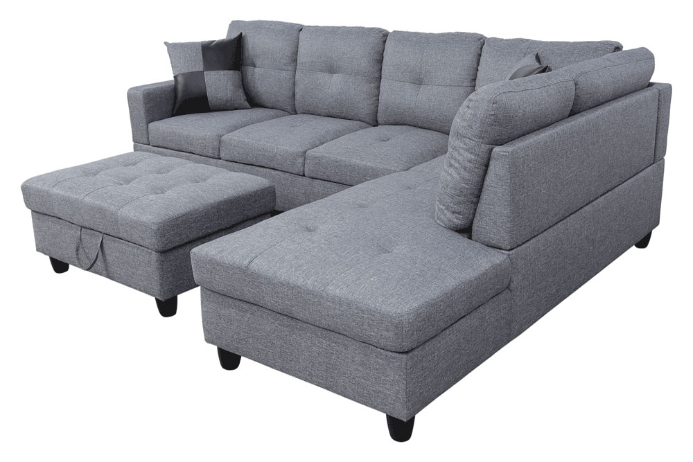 Wonderland 106.5'' Sectional Sofa with Storage Ottoman, Left Hand & Right Hand Facing by Ainehome3