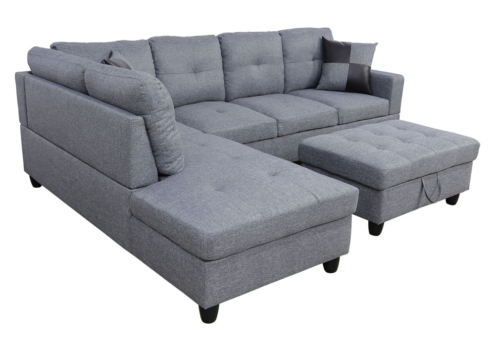 Wonderland 106.5'' Sectional Sofa with Storage Ottoman, Left Hand & Right Hand Facing by Ainehome