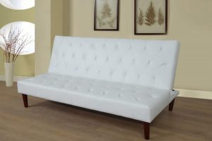 large white leather sofa bed left
