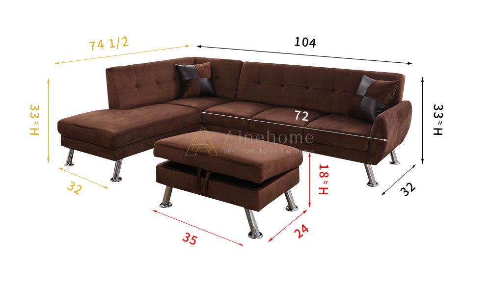 Tyronza 104'' Sectional Sofa with Storage Ottoman, Left & Right Hand Facing by Ainehome5