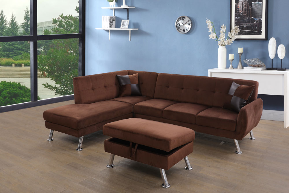 Tyronza 104'' Sectional Sofa with Storage Ottoman, Left & Right Hand Facing by Ainehome