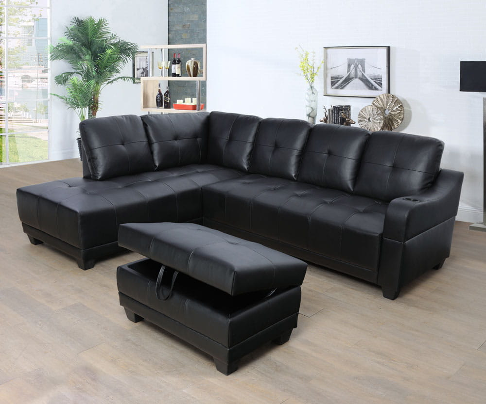 Shirly 96'' Left Hand Facing & Right Hand Facing Sectional Sofa Set with Storage Ottoman by Ainehome5
