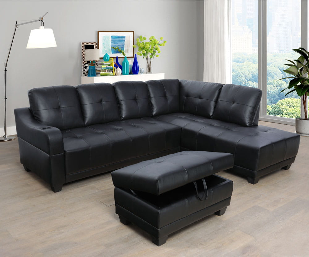 Shirly 96'' Left Hand Facing & Right Hand Facing Sectional Sofa Set with Storage Ottoman by Ainehome4