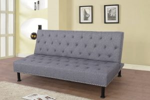 large gray flannel sectional rivet sofa bed