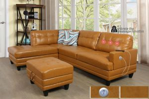 Sectional with Ottoman, Left & Right Hand Facing Yellow leather Massage Cushion