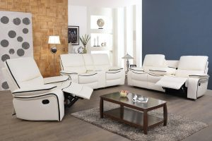 Rolexing 3 Pieces Living Room Reclining Sofa Sets, Armrest Chairs, Loveseat and Three-Seats Couch Sofas, white Recliner by Ainehome sences