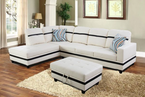 3-piece blake stripes modern sectional sofa chaise