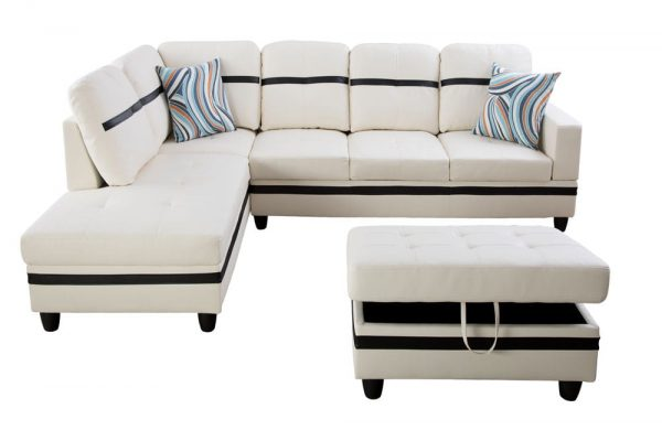 3-piece blake stripes modern sectional sofa chaise front