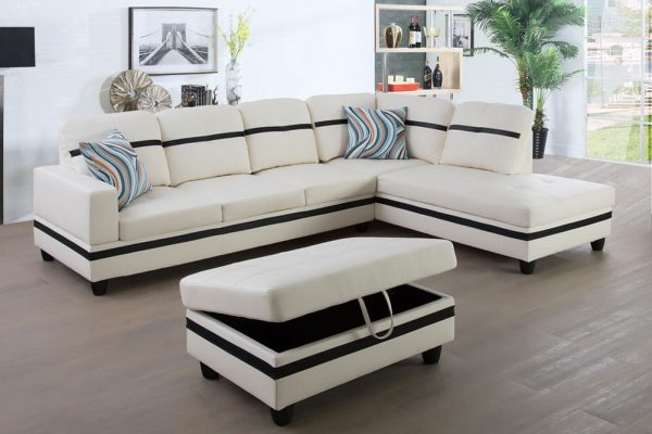 3-piece blake stripes modern sectional sofa chaise right