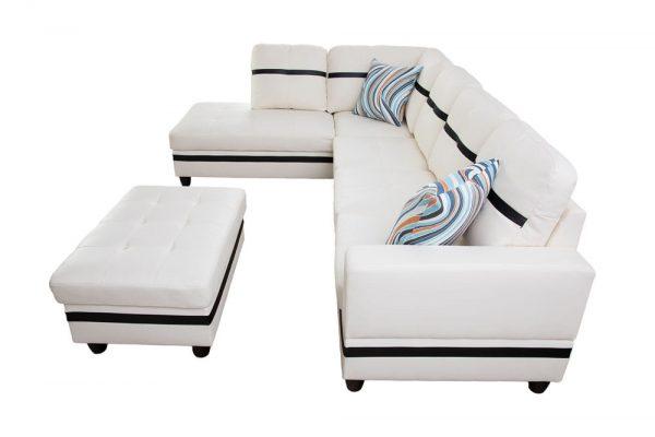 3-piece blake stripes modern sectional sofa chaise side