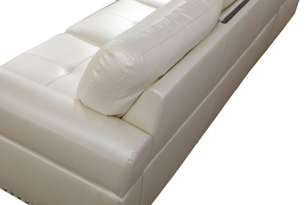 3 piece contemporary modern faux leather white sectional sofa