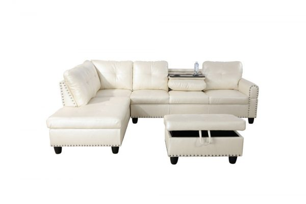 3 piece contemporary modern white sectional sofa front