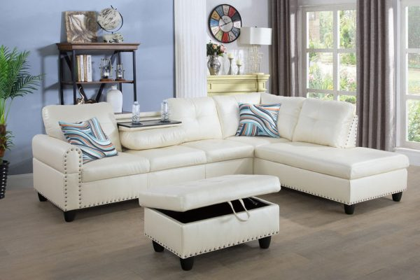 3 piece contemporary modern white sectional sofa right