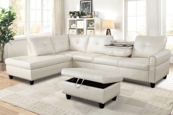 3 piece contemporary modern white sectional sofa sences