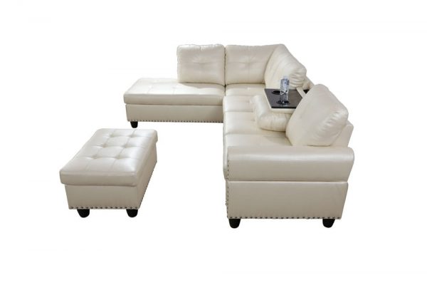 3 piece contemporary modern white sectional sofa side