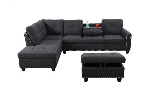 3 piece modern sectional sofa front